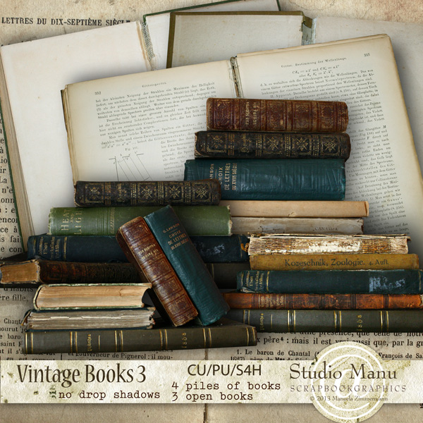digital scrapbooking vintage books designer resource commercial use