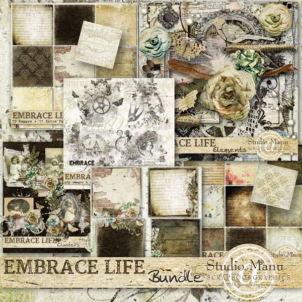 digital scrapbooking vintage collection Clusters, stacked papers, page kit, stamps, brushes