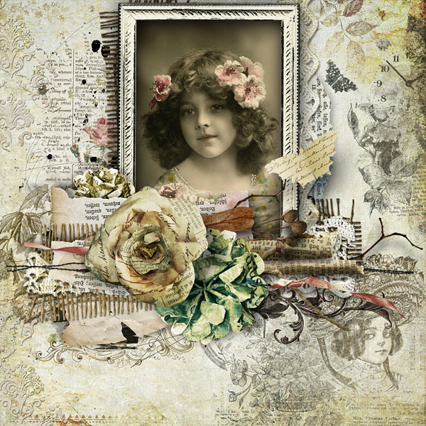digital scrapbooking vintage layout