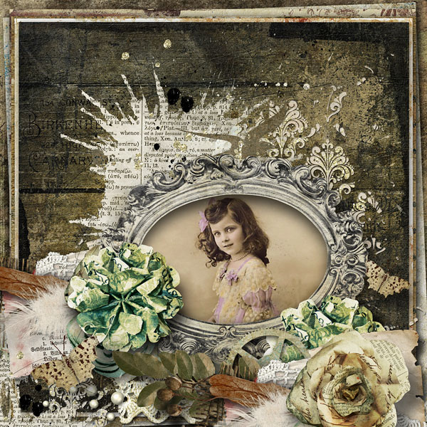 digital scrapbooking layout stacked papers