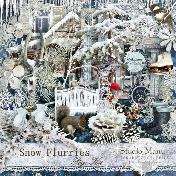 Snow Flurries - Winter Scrapbook Page Kit