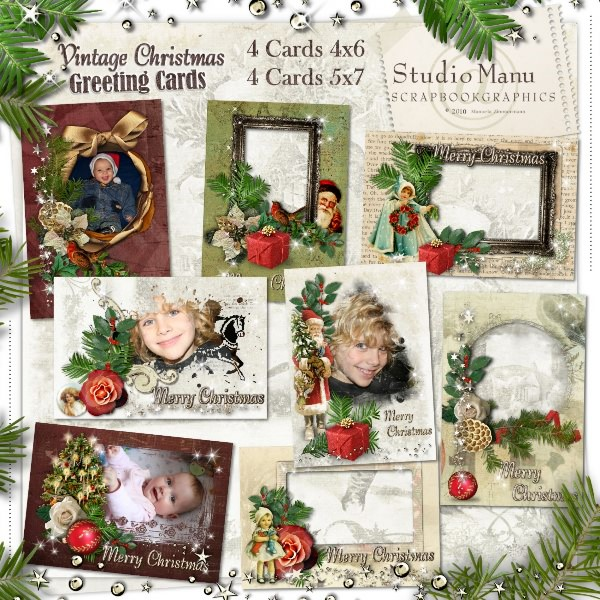 greeting cards created using vintage christmas kit masks