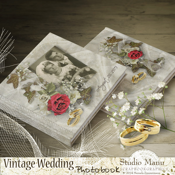 Vintage Wedding Photo Book - Covers Back & Front