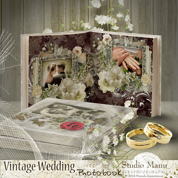 Scrapbook Vintage Wedding Photobook - Cover, Samples