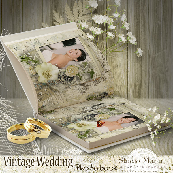 Vintage Wedding Photobook - Open Book Sample Page Scrapbook Digital