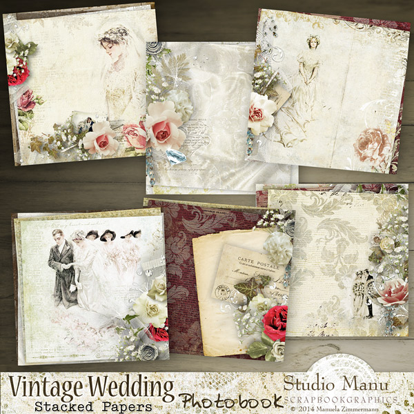 Vintage Wedding Photo Book - bonus stacked papers