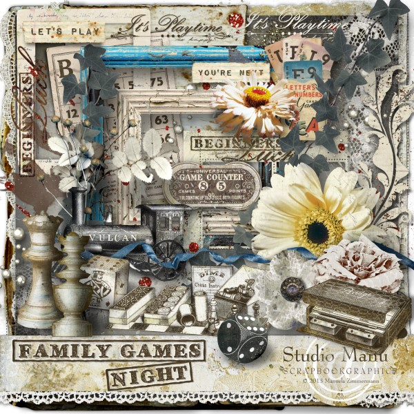 Family Games Night - Scrapbooking page kit