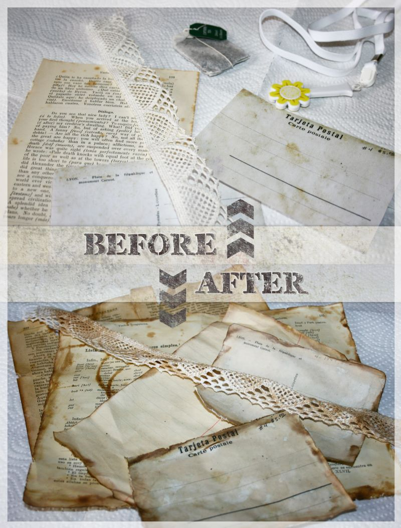 antiqued made papers, cards, lace