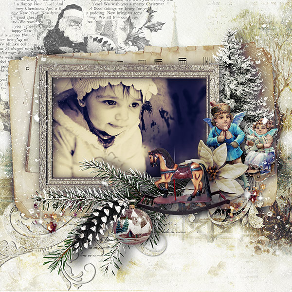 Vintage Christmas Clusters Inspiration Layout