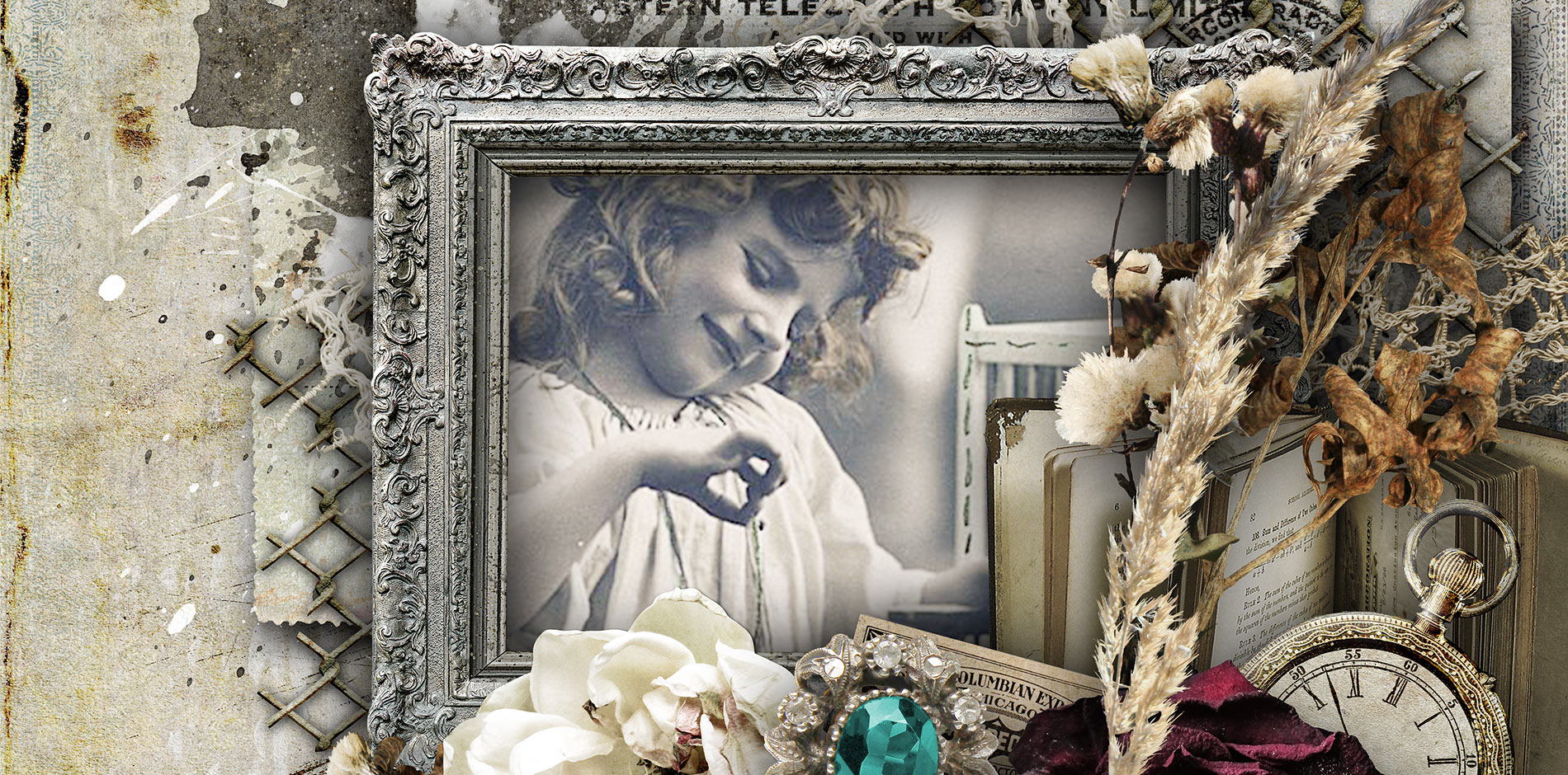 Book Of memories Scrapbook Page Kit Header