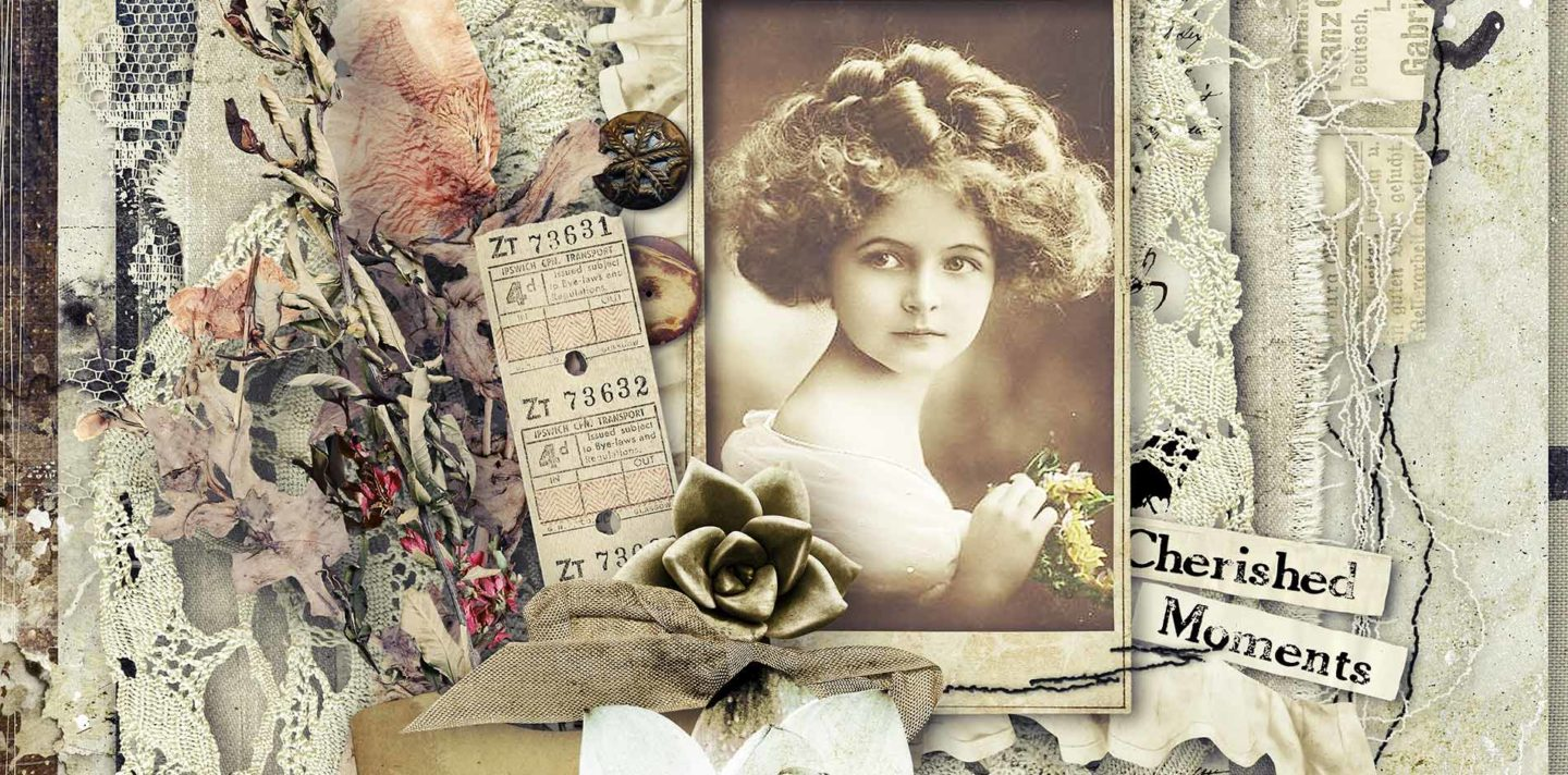 header vintage scrapbooking page kit