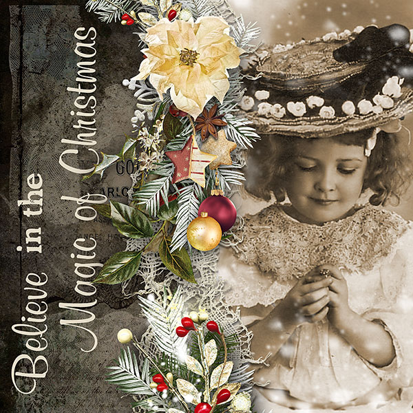 Vintage Christmas Digital Scrapbooking Inspiration Layout