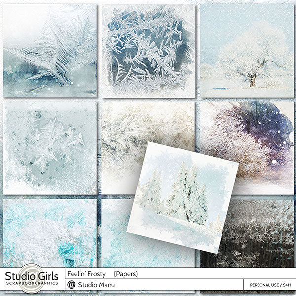 Winter digital scrapbook papers
