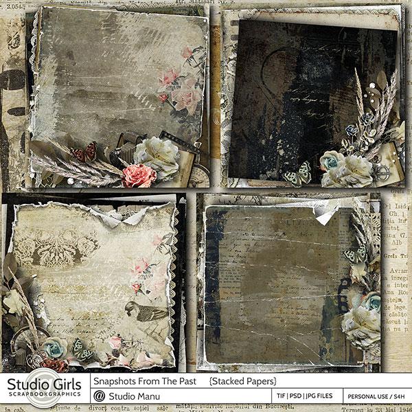 Vinatge Stacked Papers Digital