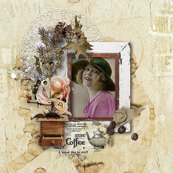 Coffee Time Scrapbook Inspiration Layout