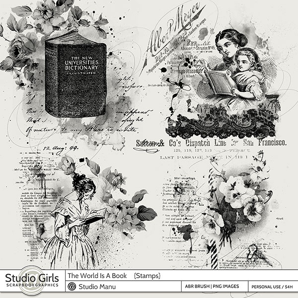 Book Reading Scrapbook Stamps and Brushes