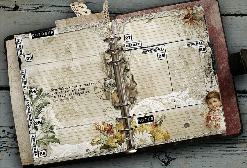 vintage planner pages