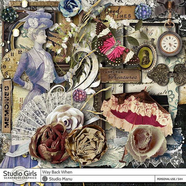 Way Back When digital scrapbook vintage kit