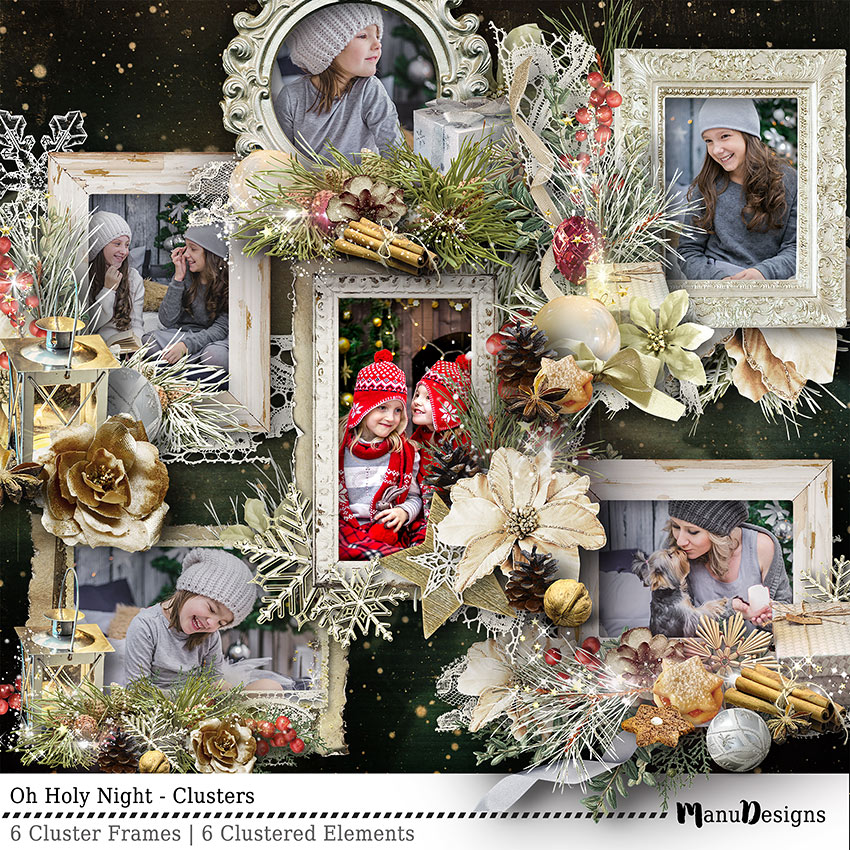 Christmas digital scrapbook clusters