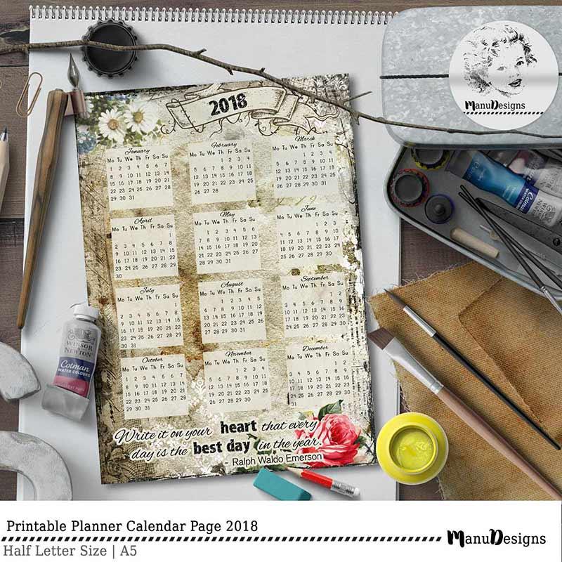 Printable planner calendar insert 2018