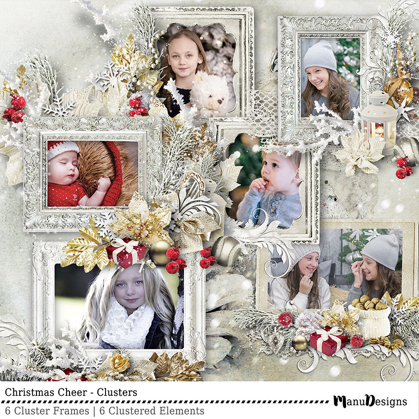 Christmas Cheer digital scrapbook clusters