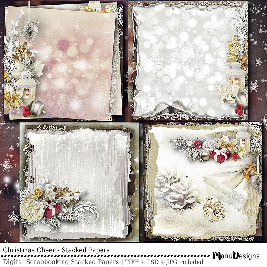 Christmas Cheer Stacked Papers Premade Scrapbook Pages