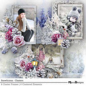 Digital Winter Scrapbook Clusters Snowlicious