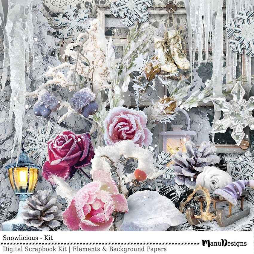 Digital Winter Scrapbook Kit Snowlicious