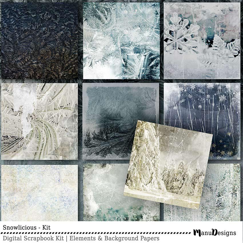 Digital Winter Scrapbook Background Papers Snowlicious