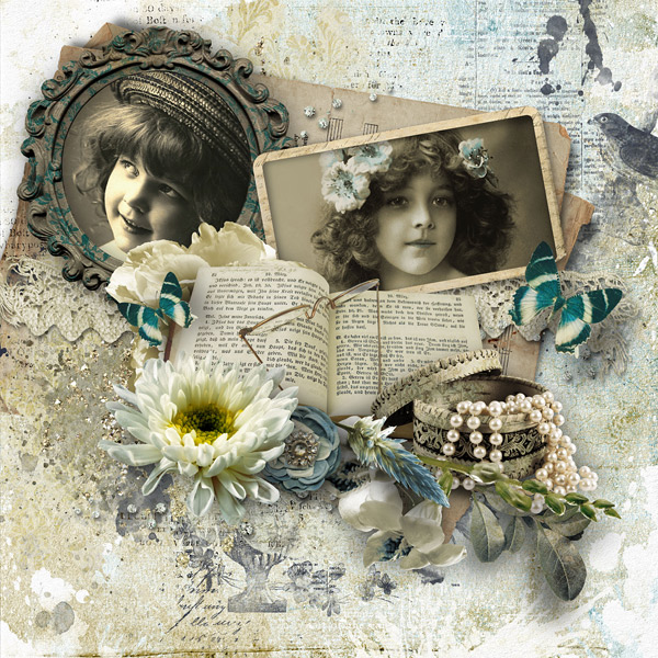 Inspiration Layout Hidden Treasures with Stamps and Brushes