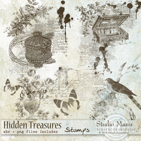 Stamps Brushes coordinating with Hidden Treasures Page Kit