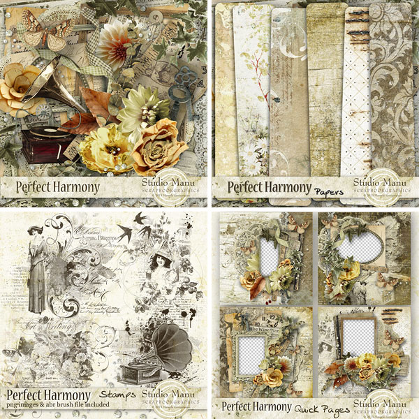 Scrapbooking Perfect Harmony Page Kit, Stamps, Quick Pages