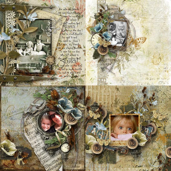 digital scrapbooking inspiration pages silence vintage collection