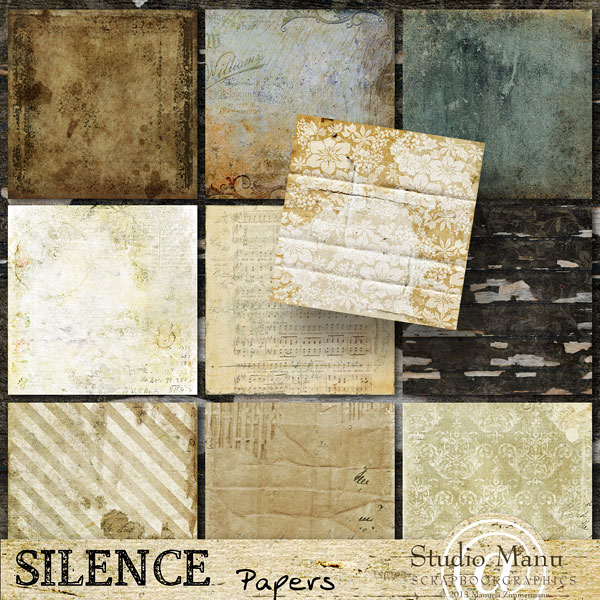 Digital Scrapbooking Vintage paper Pack Silence