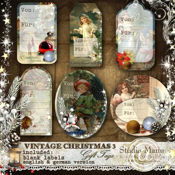 Vintage Christmas 3 - Geschenkanhänger deutsche Version