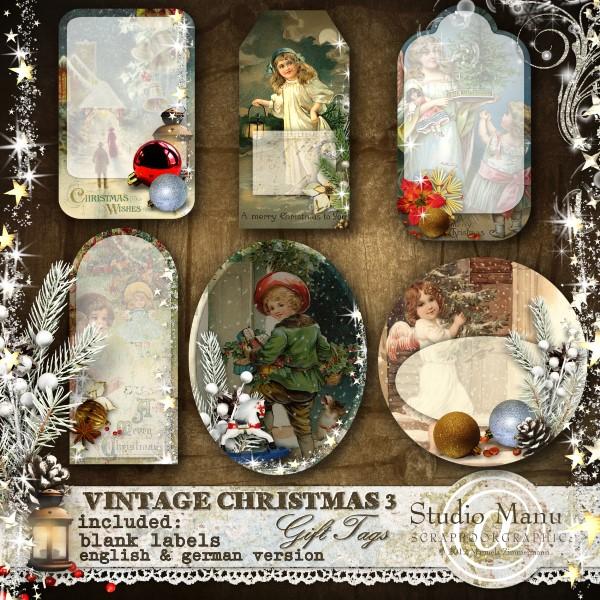 Vintage Christmas 3 - Gift Tags - Blank