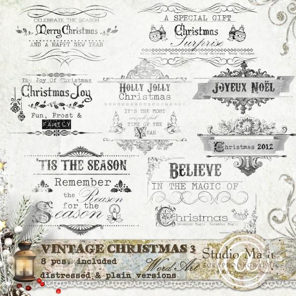 Vintage Christmas 3 - Word Art