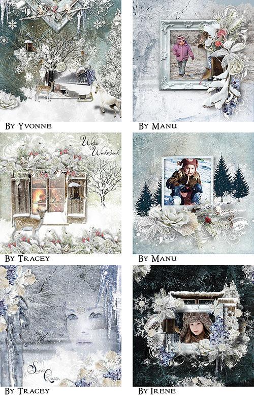 Winter Digital Scrapbooking Inspiration Layouts