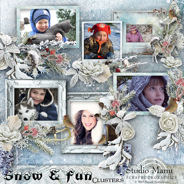 Scrapbooking Snow And Fun Cluster Frames