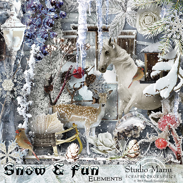 snow and fun elements - scrapbooking page kit