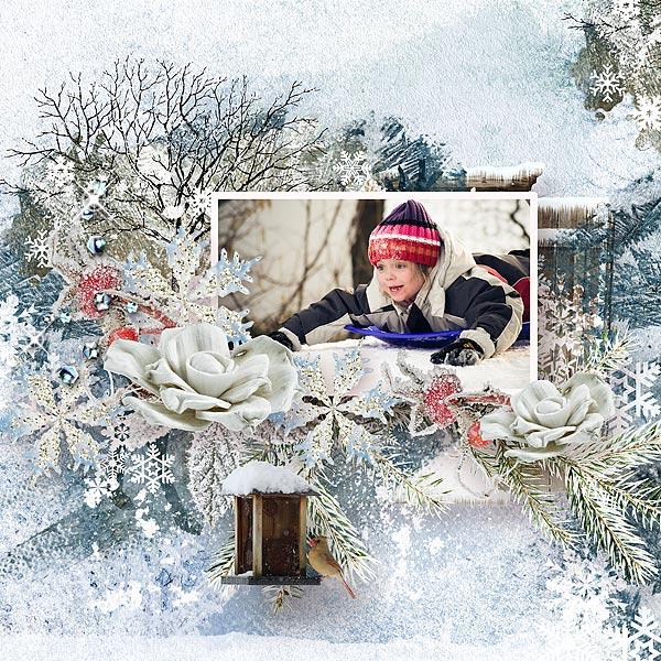 Digital scrapbooking Winter layout by Jacqueline