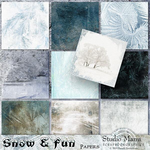 Winter digital scrapbook papers