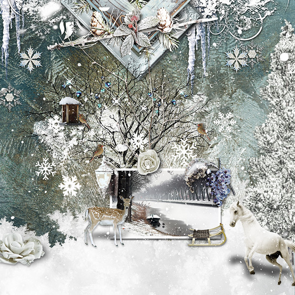 Inspiration Layout Winter Overlays by Yvonne