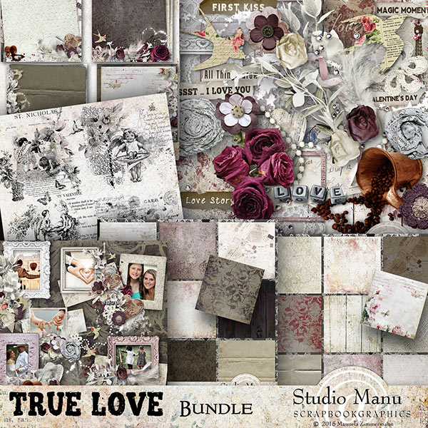 Valentine's Day Digital scrapbook Collection True LoveValentine's Day Digital scrapbook Collection True Love