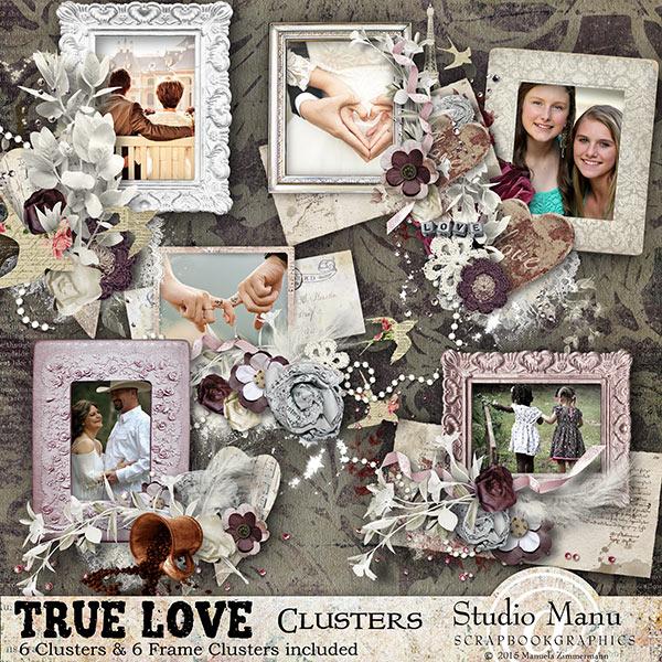 True Love Valentine#S Day Scrapbooking Clusters