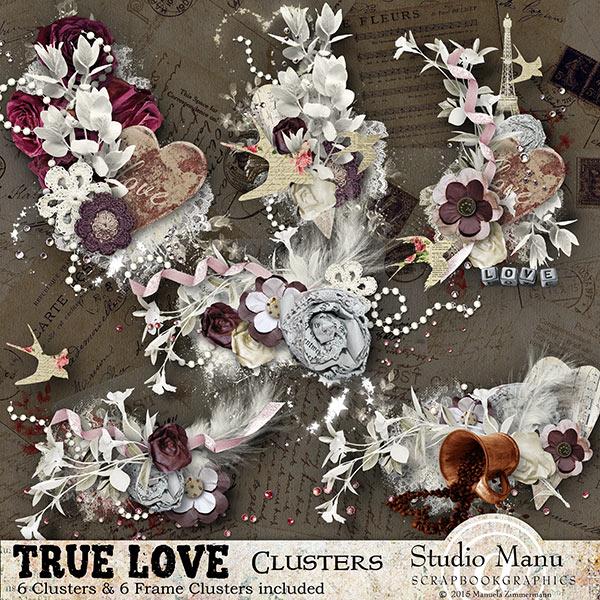 Valentine's Day Digital Scrapbooking Clusters Frames