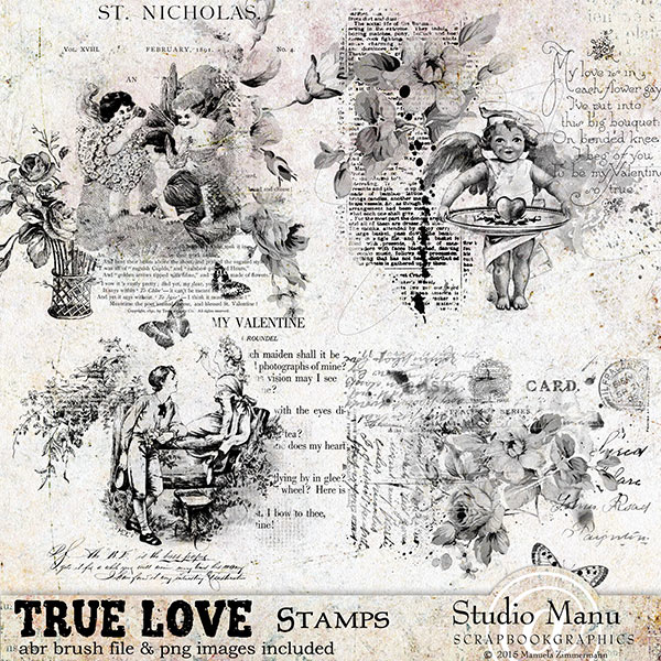 True Love Digital scrapbooking Stamps and Bushes