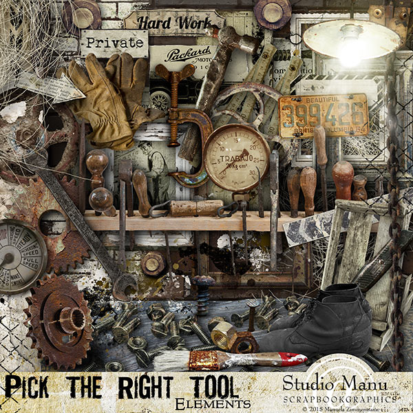 Digital Scrapbooking Men's Kit Pick The Right Tool