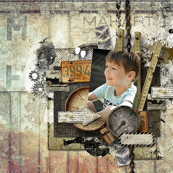 Boys digital scrapbooking inspiration layout