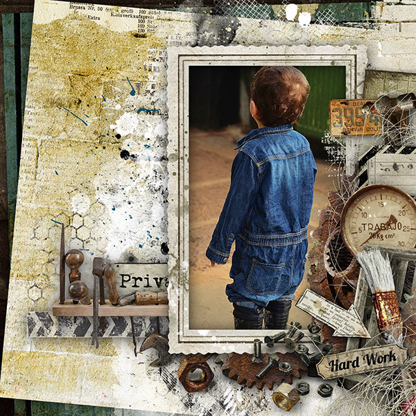 digital scrapbooking mens layout inspiration